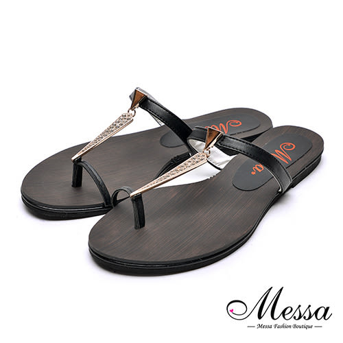 【Messa米莎專櫃女鞋】MIT邪惡金屬吊飾木板紋夾腳拖鞋-黑色