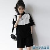 2020新款港味運動服女夏跑步套裝拼色上衣加闊腿休閒短褲兩件套時尚 KP1132【甜心小妮童裝】