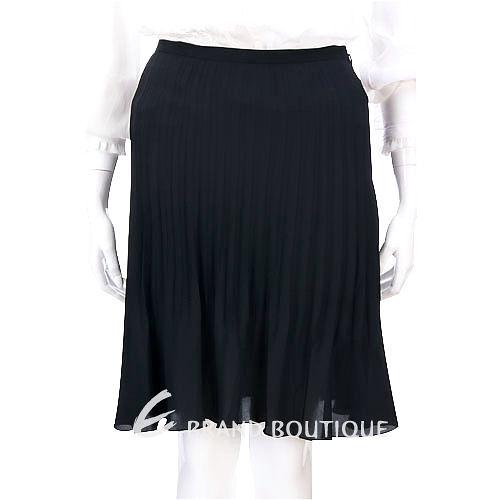 i BLUES 黑色百褶及膝裙  1230392-01