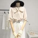 緞面襯衫 雪紡短袖上衣女設計感小眾夏季薄款襯衣泡泡袖法式蝴蝶結飄帶襯衫 設計師
