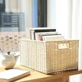 編織收納筐桌面整理箱零食收納盒玩具藤編收納框客廳臥室衣櫃籃子 卡布奇诺igo