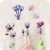 花朵免打孔無痕強力粘膠門后粘鉤 東京衣櫃