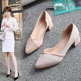 一件85折免運--工作鞋女黑色2018春新款粗跟中跟尖頭女士職業百搭正韓淺口小皮鞋