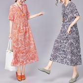 洋裝 連身裙 2019新款韓版寬鬆中大尺碼 女裝時尚休閒舒適棉麻短袖中長款連衣裙女