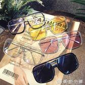 街拍度假沙灘方框墨鏡ins超火女潮顯瘦大臉ulzzang太陽鏡 優家小鋪