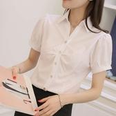 韓版雪紡白襯衫女夏短袖職業裝工作服正裝V領大碼半袖襯衣女裝ol 雙11提前購