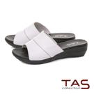TAS 寬版一字涼拖鞋-簡約白...