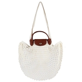 【南紡購物中心】LONGCHAMP LE PLIAGE FILET系列網狀棉質手提/肩背兩用包(亞麻)