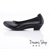 大尺碼女鞋-夢想店-上班族首選真皮靜音鞋跟舒適有型防滑耐磨工作鞋3.5cm(41-44)【LS181-037】黑色