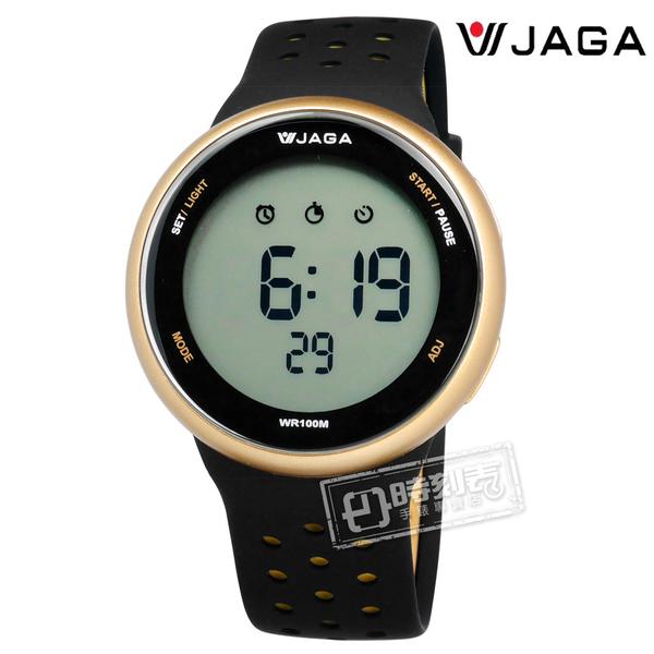 JAGA 捷卡 / M1185-AL1 / 電子運動 倒數計時 計時碼錶 鬧鈴 防水100米 透氣矽膠手錶 黑金色 44mm