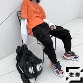 大碼束腳工裝褲男寬鬆收口休閒褲【左岸男裝】
