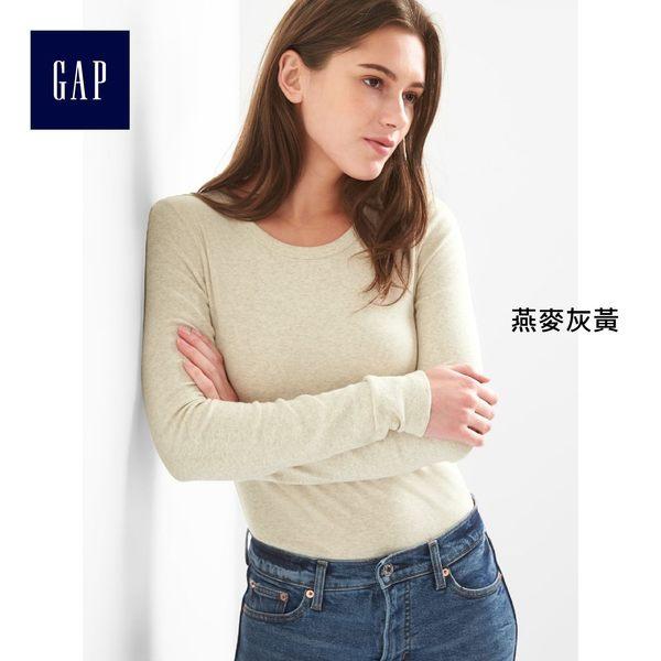 Gap女裝 簡約百搭基本款圓領長袖T恤 241908-燕麥灰黃
