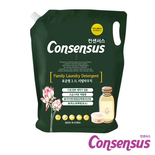 韓國 Consensus 康善秀 香氛植萃純水溫和洗衣精補充包 (2.05L~2.1L/包) 植物精萃無害不添加 植萃洗衣精
