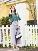 單一優惠價[H2O]可拆式裝飾綁帶雪紡寬口長褲 - 紅/藍/淺紫色 #9688010