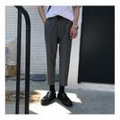 找到自己 MD 韓國 潮 男 時尚 百搭 素面 修身 圓環裝飾 休閒褲 九分褲 西裝褲 小西褲