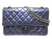 CHANEL 香奈兒 金屬藍紫色菱格紋牛皮2.55方釦雙蓋銀鍊肩背包 A37587 【BRAND OFF】
