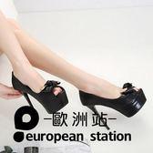 高跟鞋/14cm淺口單鞋蝴蝶結魚口細跟女鞋「歐洲站」