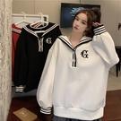 VK精品服飾 韓國學院風海軍風領寬鬆大碼休閒單品長袖上衣