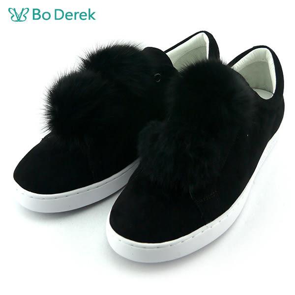 ★新品上市★【Bo Derek】絨毛球球麂皮休閒鞋-黑
