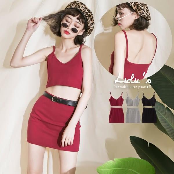 LULUS-A兩件式-V領細肩短版上衣+短裙-3色 現【01120963】