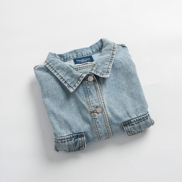 Queen Shop【02050282】率性淺藍刷色單寧外套*現+預*