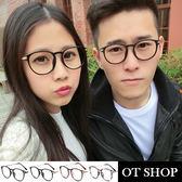 OT SHOP眼鏡框‧中性款雕刻金屬細鏡框圓型黑框平光眼鏡‧亮黑/霧黑/茶色‧現貨‧G03