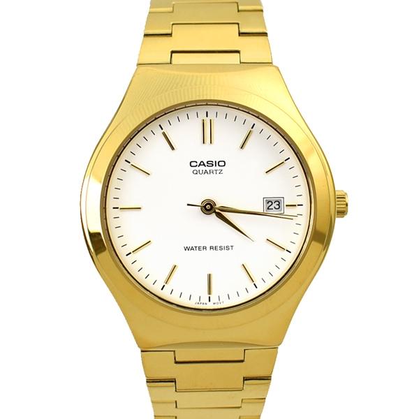 CASIO手錶 極簡風日期窗白面金色鋼錶NECE41