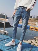 牛仔褲 男秋冬款加絨韓版潮流修身小腳男士寬松直筒休閑褲子九分褲