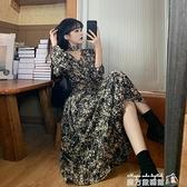 秋裝新款法式長袖洋裝女秋冬裙子秋季氣質顯瘦顯高碎花長裙 魔方數碼