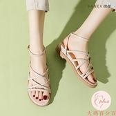 涼鞋女新款小眾羅馬鞋百搭平底綁帶厚底夏季女【大碼百分百】