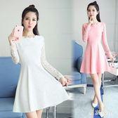 蕾絲小禮服 新款女裝蕾絲連衣裙顯瘦長袖白色禮服打底裙 QQ11096『東京衣社』