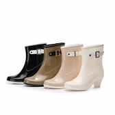 E家人 雨靴時尚純色雨鞋坡跟女生中筒雨靴防滑大碼膠鞋修身水鞋女
