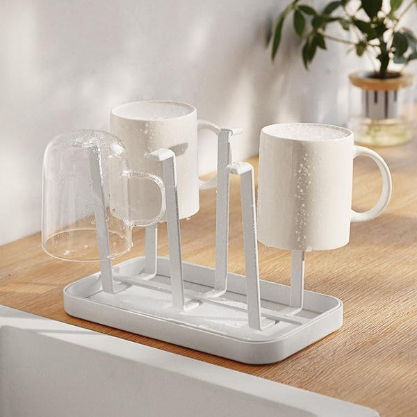 瓣瓣創意瀝水玻璃杯水杯掛架咖啡杯馬克杯子架收納杯架托盤置物架 印巷家居