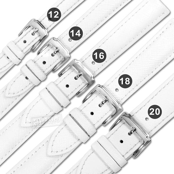 Watchband / 12.14.16.18.20 mm / 各品牌通用 真皮防刮壓紋錶帶 不鏽鋼扣頭 白色 #601-K-08