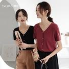 短袖t恤女春夏韓版寬鬆v領百搭純色打底體恤上衣ins潮 錢夫人