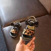 夏季新款韓版女童涼鞋豹紋蝴蝶結公主鞋防滑軟底兒童鞋寶寶鞋 〖米娜小鋪〗