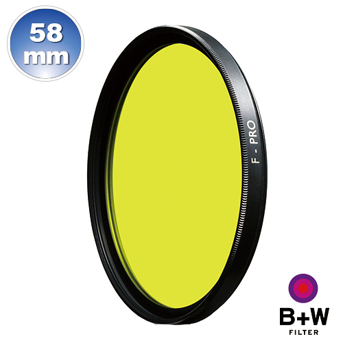 B+W F-Pro 022 58mm MRC Yellow light 495 黑白軟片濾色片 黃色