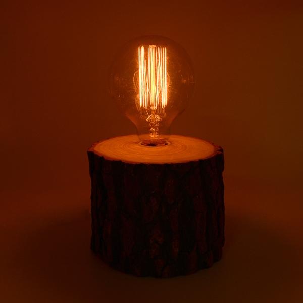 芬多森林|台灣樟木情境燈(大),復古愛迪生燈泡專用燈座,實木氣氛情境鎢絲夜燈,原木燈飾