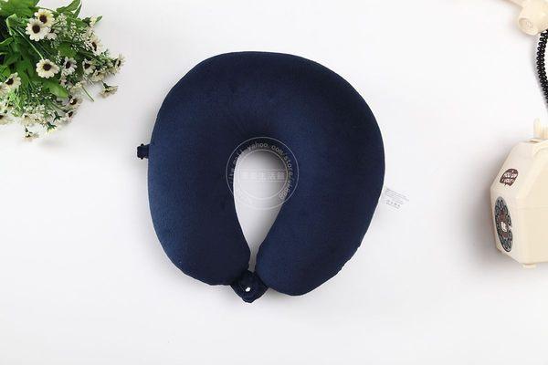高檔純色奈米微粒(粒子) U型枕 午睡枕 護頸枕 車用靠枕 午安枕 U型枕頭 抱枕 (藏青色)