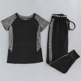 夏季新款健身房運動服女短袖寬松瑜伽服套裝速幹顯瘦哈倫褲跑步服