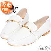 Ann'S超柔軟綿羊皮-訂製金結兩穿穆勒平底紳士鞋-白