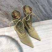 ins歐洲站新款冬季加絨LIN網紅尖頭高跟細跟短靴子中筒瘦瘦靴