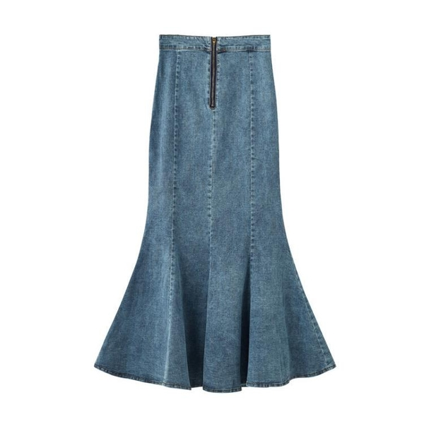 現貨 魚尾裙牛仔半身裙女高腰顯瘦魚尾裙修身開叉A字包臀中長裙【快速出貨】