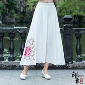 麻半身長裙女繡花大擺鬆緊腰復古民族風半身裙