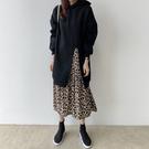 洋裝 連身裙韓國 秋冬新品減齡連帽拼接豹...