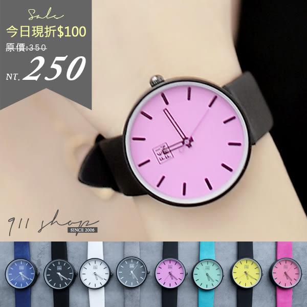 Leisure.香港FEIFAN。簡單色塊鏤空指針斜紋粉彩皮革帶手錶【tc353】*911 SHOP*