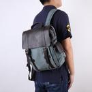 【Solomon 原創設計皮件】寬背帶帆布後背包 皮革帆布旅行包 中性休閒書包