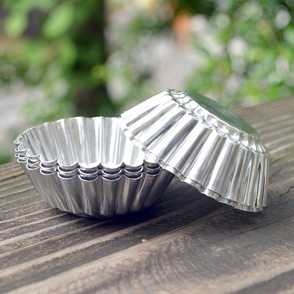 可重復使用鋁制蛋撻模具蛋糕烘焙圓形花邊椰子撻模家用不粘菊花  【端午節特惠】