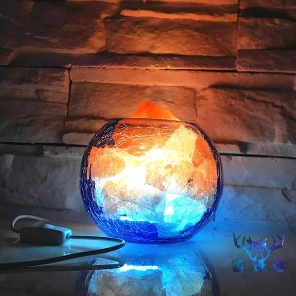 夜燈冰與火鹽燈天然礦創意可調光臥室床頭裝飾負離子燈【古怪舍】