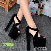 恨天高涼鞋17CM18公分粗跟夜店魚嘴鞋性感超高跟韓國公主涼鞋34碼 依凡卡時尚